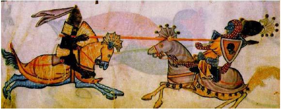 Dvojboj na koni medzi kresťanským a moslimským rytierom