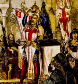 Friedrich II. z Hohenstaufen si v Jeruzaleme nasadzuje korunu