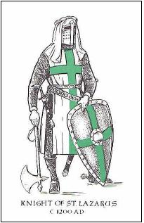 Zelený kríž, ako ho v roku 1314 predpisuje vo svojej knihe pravidiel Sigfried de Slatte